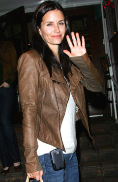 courteney cox wearing leather jacket