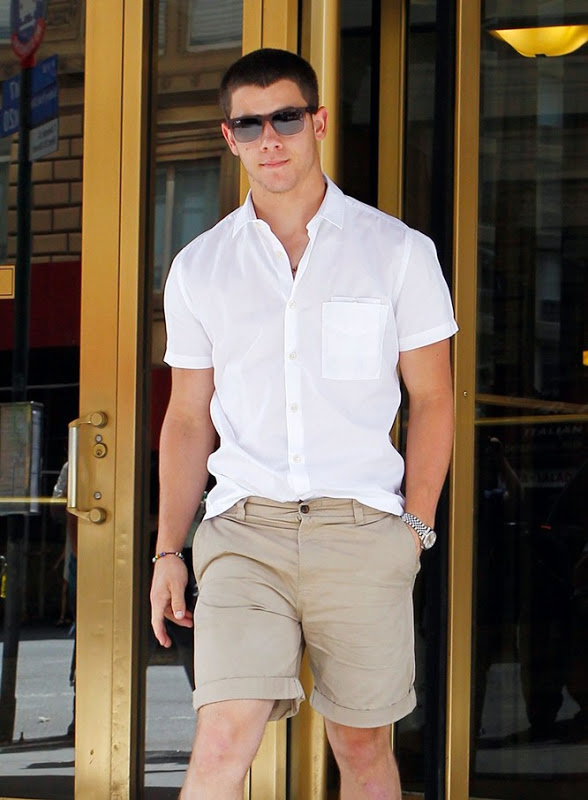 80806, NEW YORK, NEW YORK - Tuesday July 10, 2012. Singer Nick Jonas seen looking ready for the hot weather wearing shorts, shirt and sunglasses as he leaves his apartment building in New York. ***BRAZIL OUT*** Photograph: ©Wagner Az, PacificCoastNews.com **FEE MUST BE AGREED PRIOR TO USAGE** **E-TABLET/IPAD & MOBILE PHONE APP PUBLISHING REQUIRES ADDITIONAL FEES** LOS ANGELES OFFICE:+1 310 822 0419 LONDON OFFICE:+44 20 8090 4079